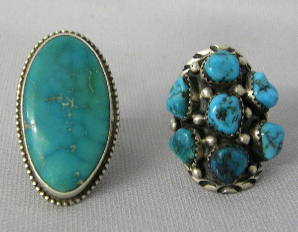 2 1950s Navajo Silver Turquoise Rings, 1 by Touchne