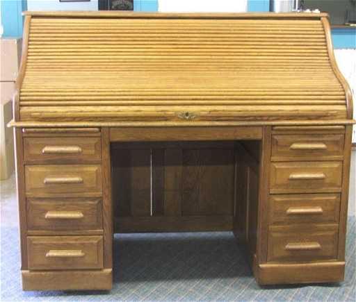 - Antique Oak Rolltop Desk Made By Petersen 49x60x31