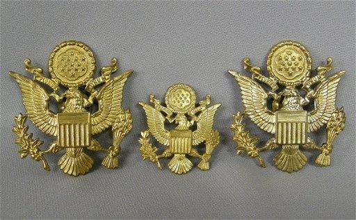 3 Military Brass Eagle Insignia Pins 2 25'' x 2 25''