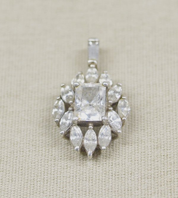 1301: Estate Sterling Silver CZ Pendant Made in Korea