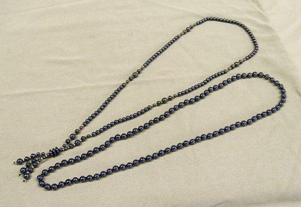 "1302A: 2 Alaskan Black Diamond Necklaces  32""L"