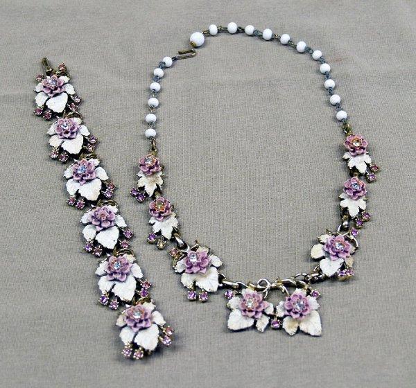 "1302B: Estate Rhinestone Necklace & Bracelet  32""L"