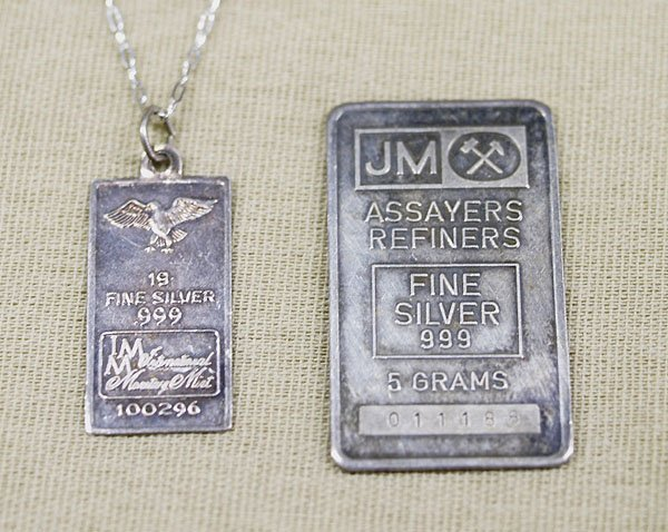 1304A: 2 Estate Sterling Silver Bar Necklaces  approx.