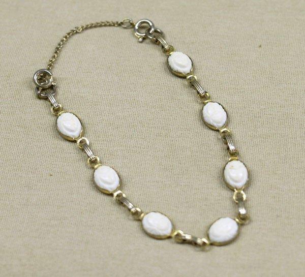 """1305A: Estate Carved White Scarab Link Bracelet  6""""L"""
