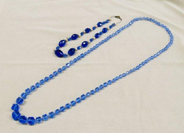"""1309: 2 Estate Czech. Cobalt Blue Necklaces  32""""L"""