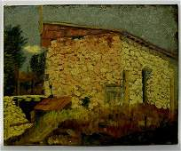 1456: Antique Double Sided Oil Painting on Canvas