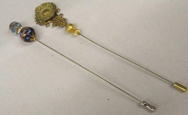 2 Antique Estate Hat Pins 6'' Long