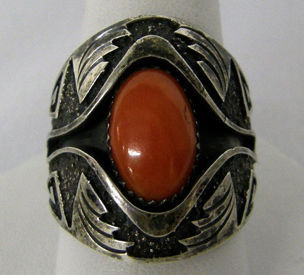 Navajo Coral Silver Ring Hallmarked RB Size 11 1/2