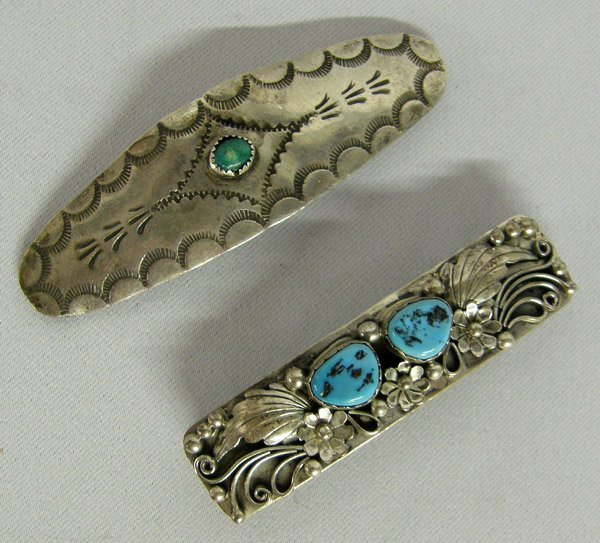 2 Navajo Silver & Turquoise Hair Barrettes
