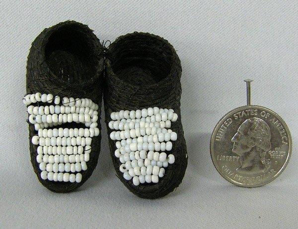 Pr Horsehair Miniature Beaded Moccasins  1 5/8''