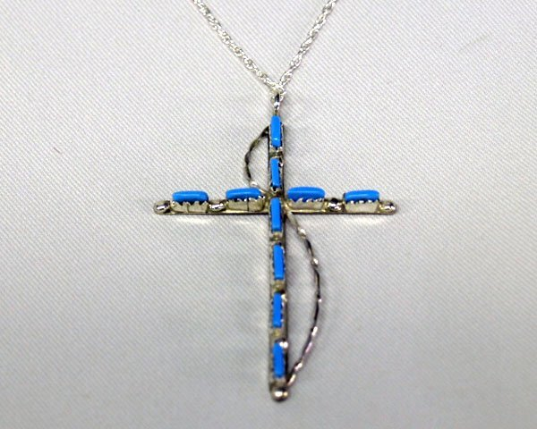 Zuni Silver  Pettipoint Turquoise Cross & Chain 22''