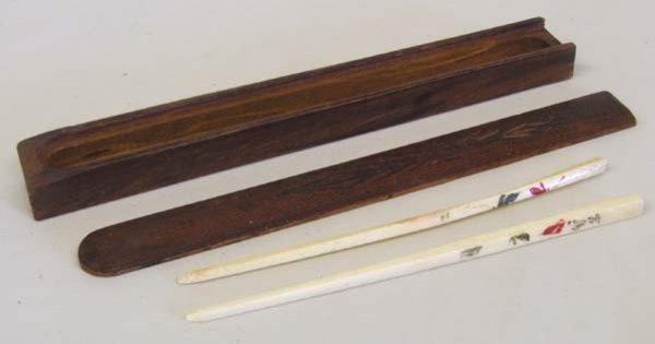 Antique Ivory Chopsticks w/ Presentation  Box 7.5''