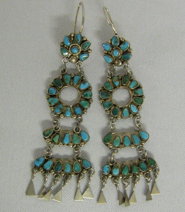 Zuni Silver Petti Point Turquoise Earrings 3.5''