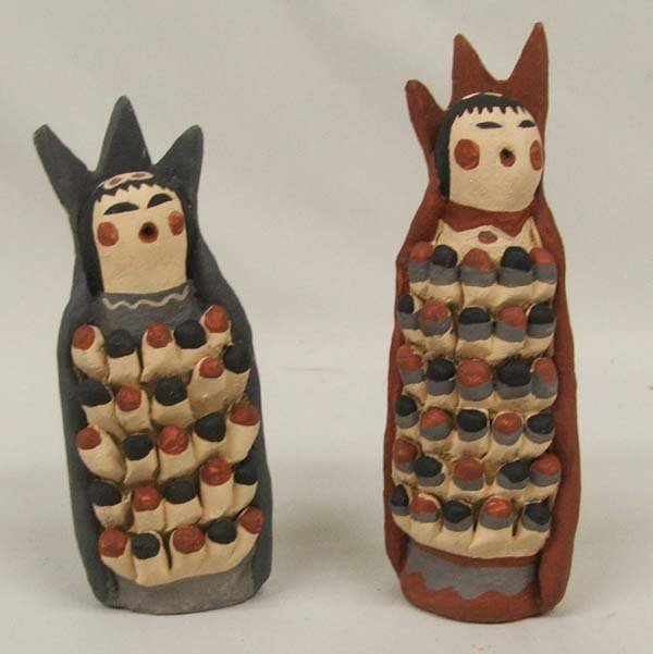 2 Jemez Pottery Corn Maidens by A Tortalita 4.5''