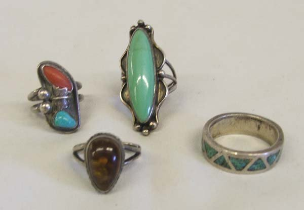 4 Southwestern Silver Rings Largest Size 11.5