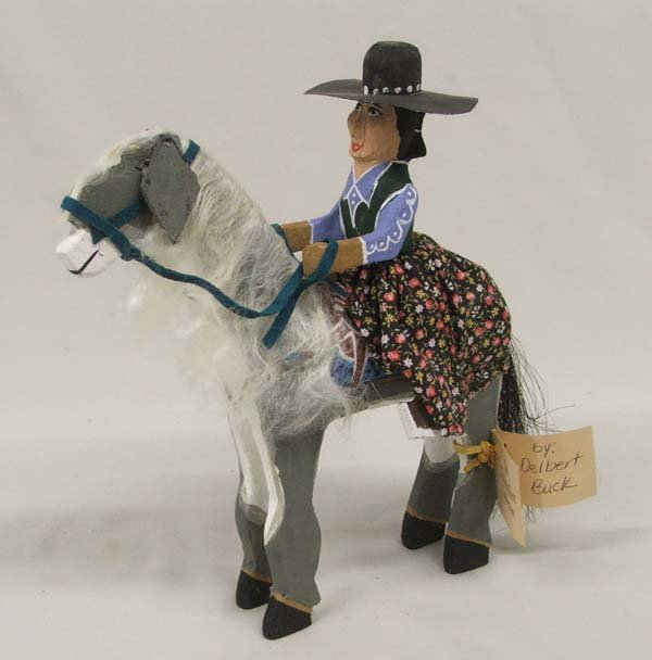 Navajo Folk Art Cowgirl On Horse By D. Buck 8x8.5''