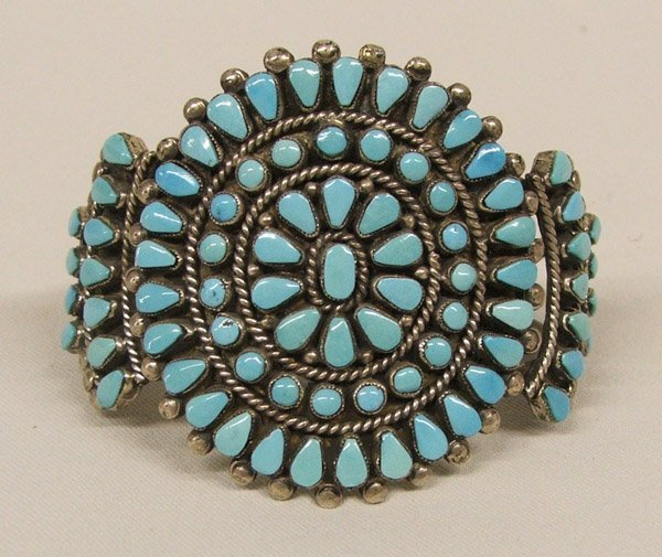 Zuni Classic Turquoise Cluster Bracelet 6''