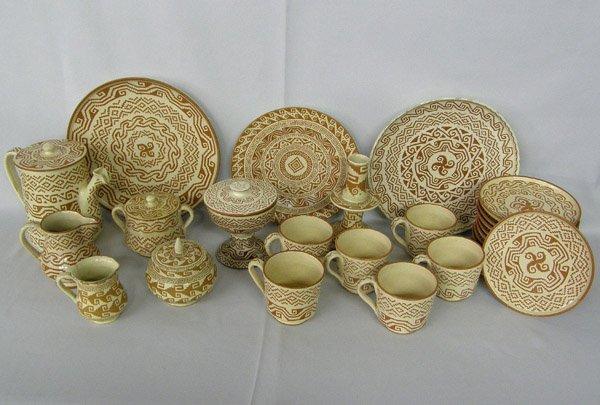 27 Pieces Alfareria Jimenez Hand Made Pottery