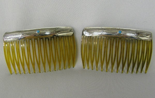 2 Navajo Silver Turquoise Hair Combs