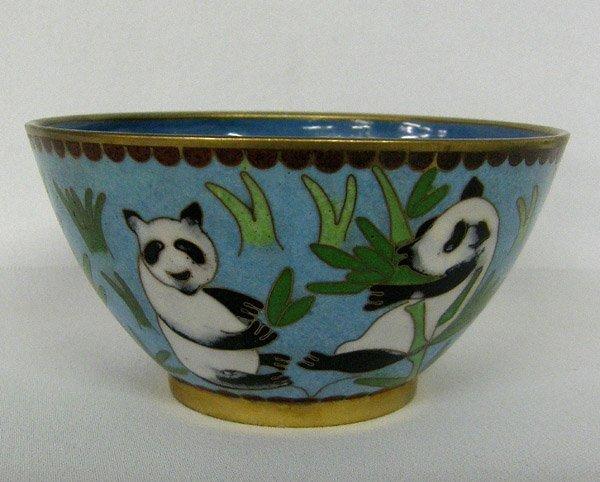 Chinese  Cloisonne Panda Bowl