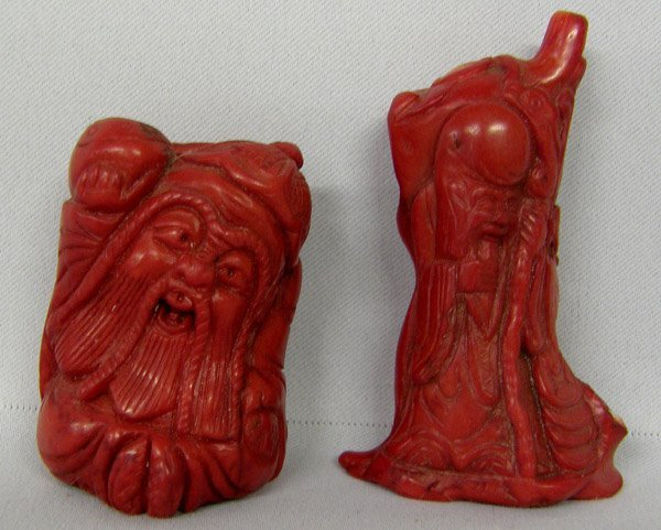 2 Chinese Carved Red Coral Sculptures