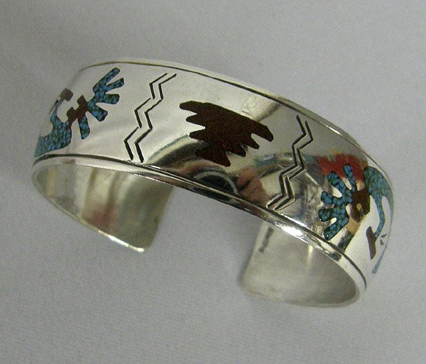 Navajo Silver Turquoise Chip Inlay Bracelet