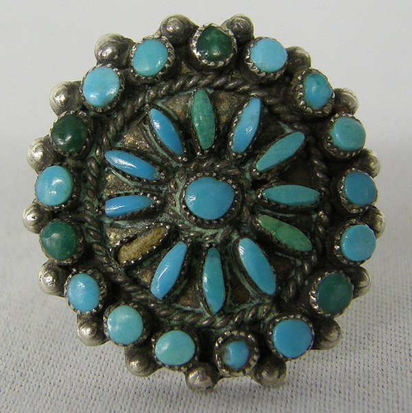 Vintage Zuni Turquoise & Silver Ring Size 7 3/4
