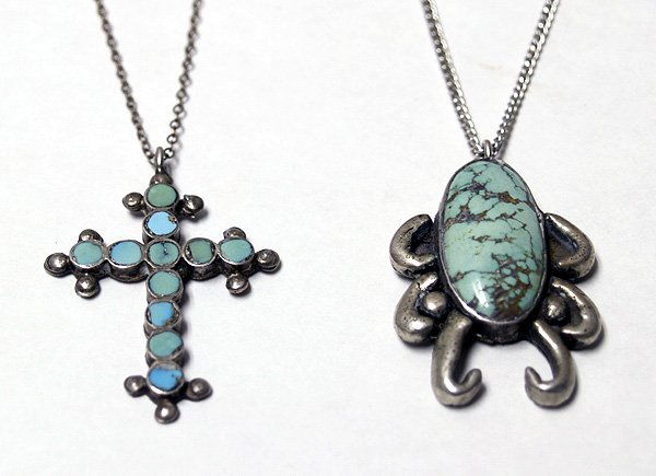 2 Navajo Silver Turquoise Necklaces