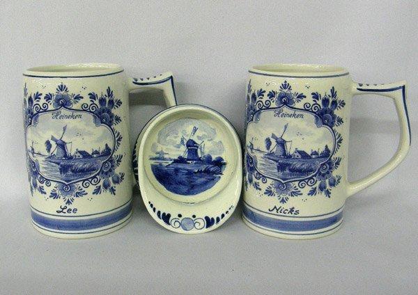 3 Pieces Vintage Delft Blue & White China