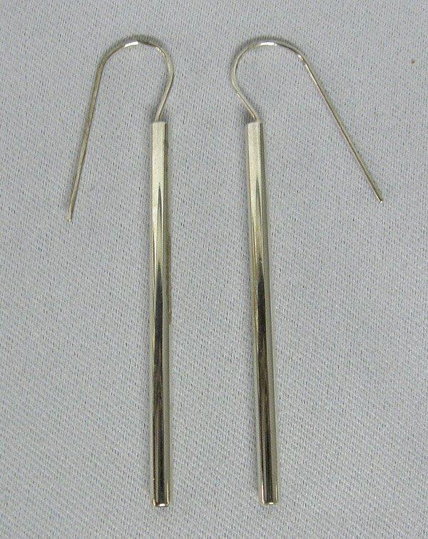 Pair Stainless Steel Garnet Earrings by Pruitt