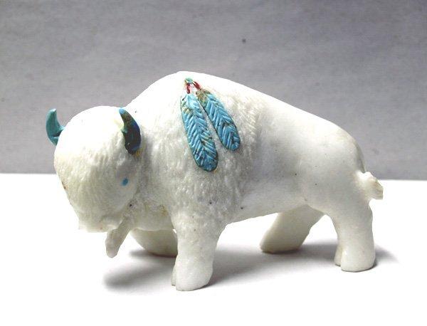 Zuni White Marble Buffalo Fetish