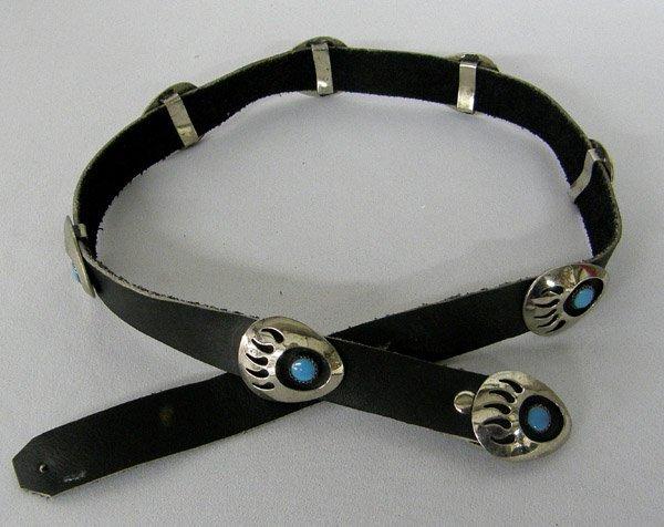 Hopi German Silver Bear Paw Hat Band