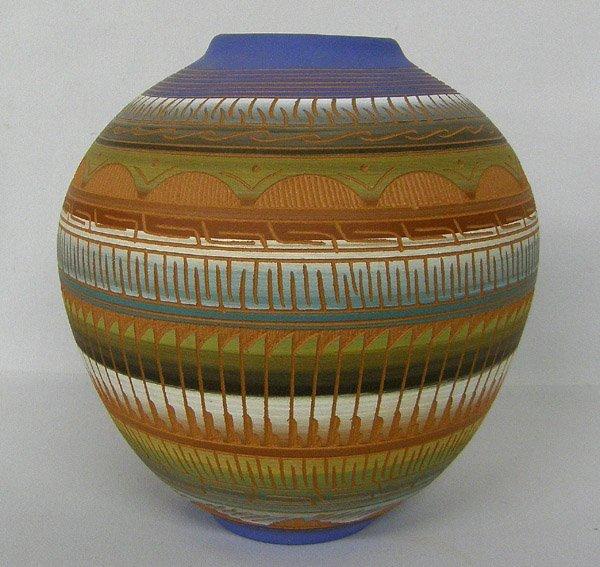 Navajo Incised Design Pot Signed