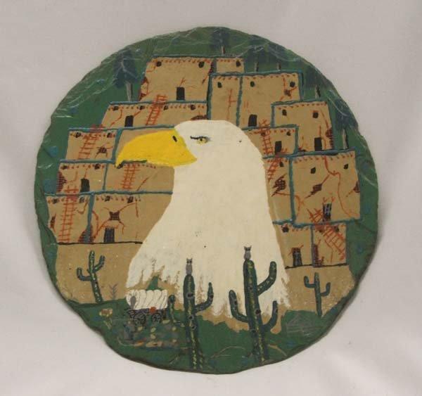 Pueblo Eagle Painting On Stone