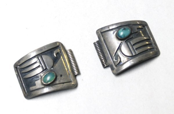 Vintage 1950's Hopi Silver Turquoise  Watch Tips