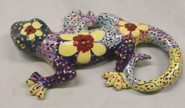 2 Hand Painted Ceramic Lizards by Kills Thunder - 2