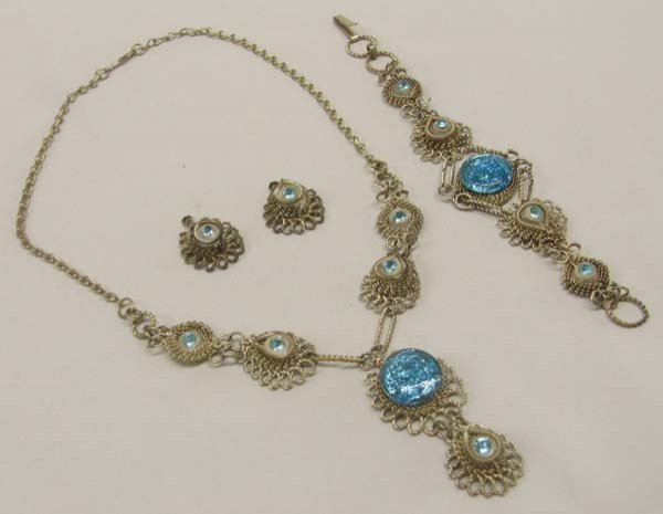 India Silver Wire Necklace, Earrings, &  Bracelet