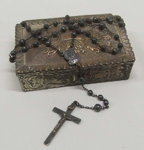 Vintage Estate Silver Rosary & Keeper Box