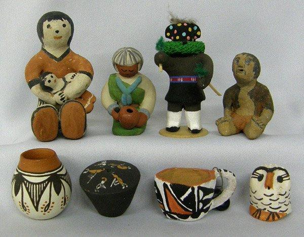 8 Isleta, Acoma, Hopi, Pottery Figures & Bowls