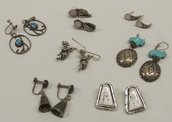 6 Pr Navajo Silver Earrings plus 1 Siamese  Pr Bells