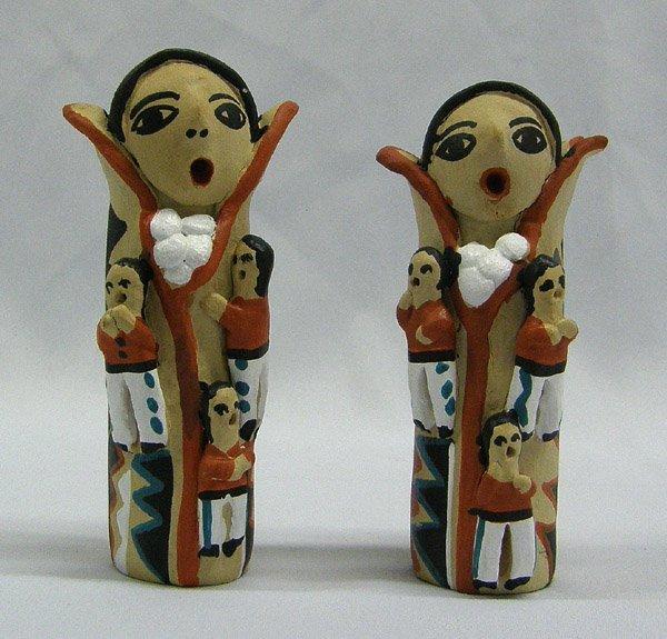 2 Jemez Corn Figure Pottery By R. Toya