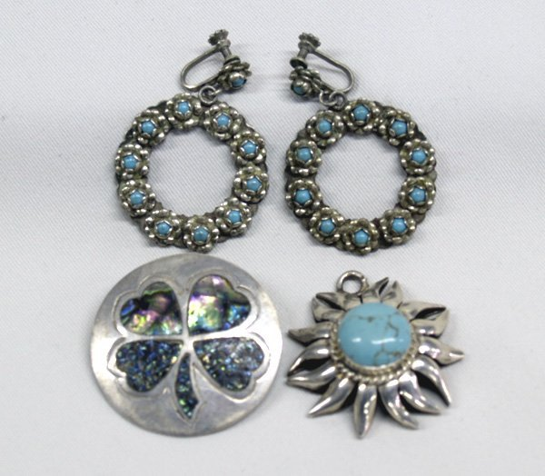 3 Mexican Silver Turquoise Abalone Pins & Earrings