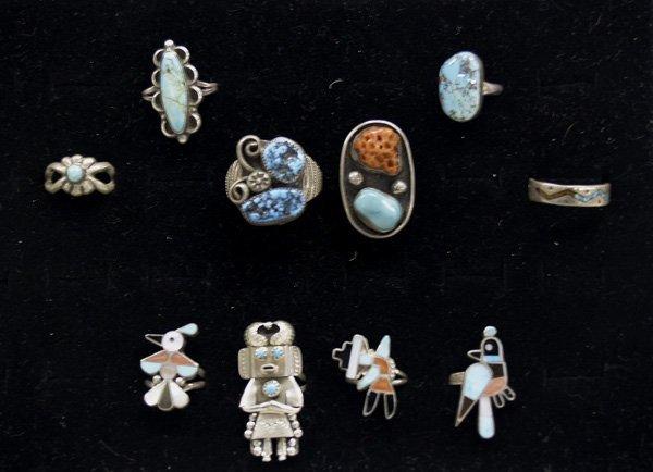 10 Vintage Navajo & Zuni Rings
