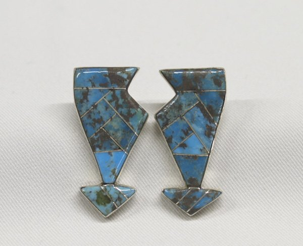 Zuni Silver Channel Turquoise Inlay Earrings