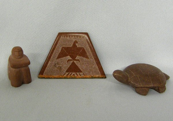3 Sioux Pipestone Carvings, one is a pin