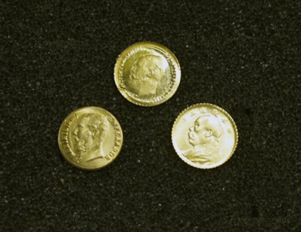 3 Small Gold Coins 1/20 oz Gold