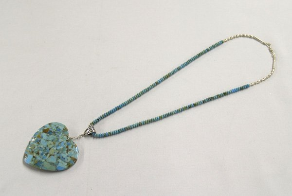1304: Navajo Inlay Turquoise Shell Pendant Necklace