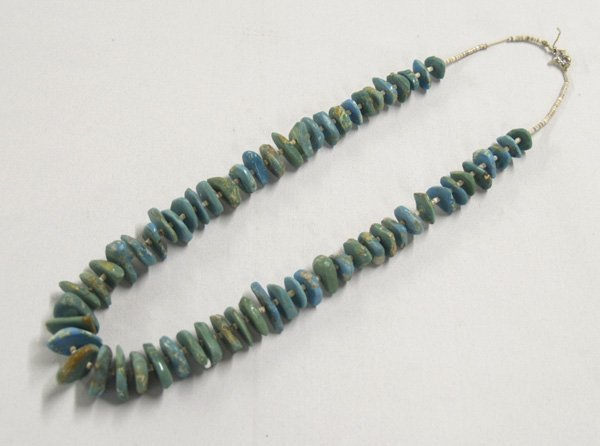 1304A: Navajo Turquoise Nugget Heishi Necklace