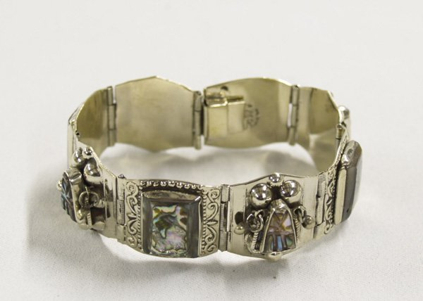 1303: Taxco Silver Mexican Abalone Link Bracelet