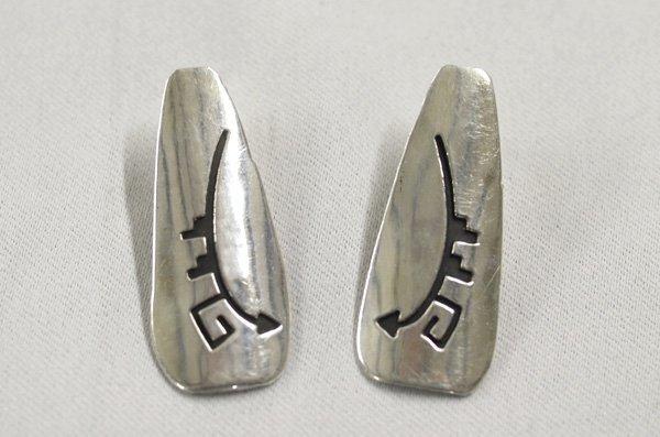 1311A: Navajo Silver Pierced Earrings by Tom Billy